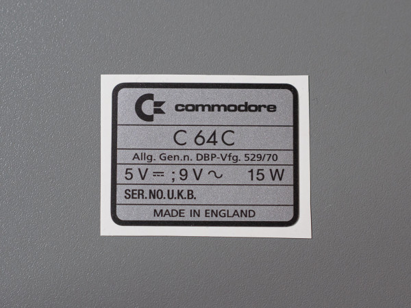 C64C SN-Aufkleber [Made in England]