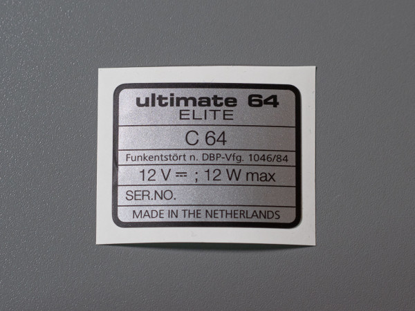 Ultimate 64 Elite SN-Aufkleber C64