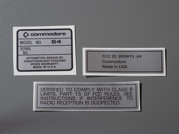 C64 serial no. sticker [Made in U.S.A.] set