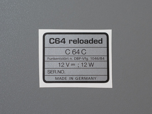 C64 reloaded serial no. sticker for C64C