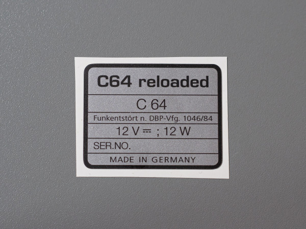 C64 reloaded serial no. sticker C64