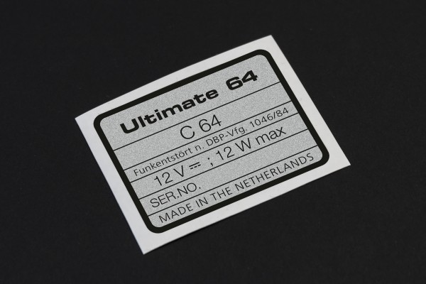 Ultimate 64 serial no. sticker for C64
