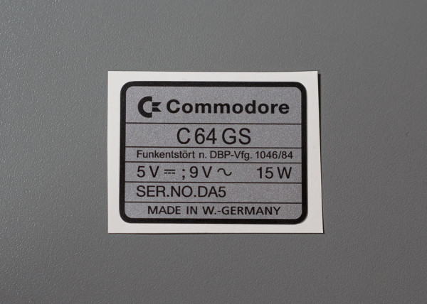 C64 GS serial no. sticker