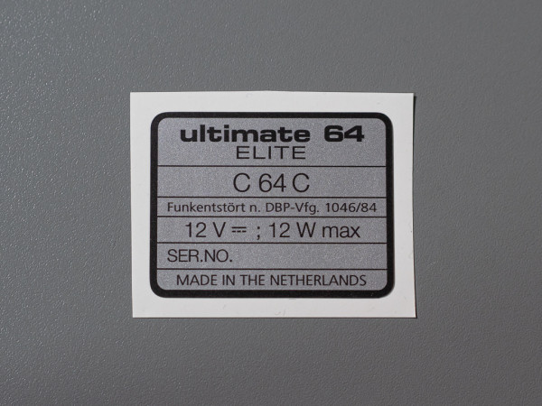 Ultimate 64 Elite SN-Aufkleber C64C